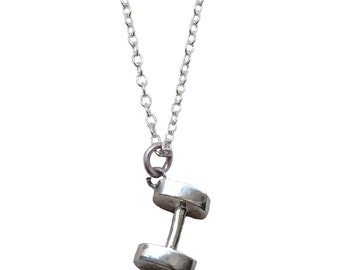 Sterling Silver Dumbbell Necklace