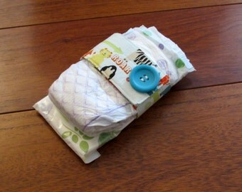 Sale Riley Blake Alphabet Soup Diaper Strap with Matching Teal Button