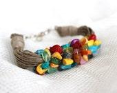 Nature linen bracelet with colorful stones. Rainbow colors. Natural bracelet. Multicolor