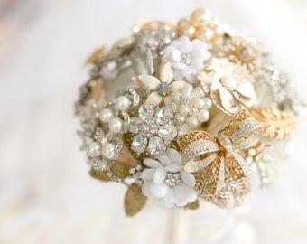 Gold Brooch Bouquet Bridal Wedding cream white pearl vintage rhinestone leaves Large Elegant enamel flower floral silver beautiful sparkling