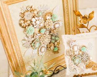 Vintage Jewelry Collage Framed Gold Antique Brooch Mint Green Aqua Robins Egg Blue Assemblage Nursery Decor Wall Art Rhinestone Home Baby