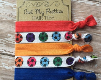 FOE Elastic Hair Ties Soccer Collection Toddlers, Girls, Women -Set of 5-