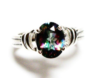 "Rainbow mystic topaz, topaz ring, rainbow ring, blue green pink ring, solitaire ring, s 6 1/4  ""Garden Party"""