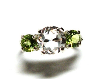 """White quartz ring, quartz peridot ring, 3 stone ring, anniversary ring, mother's ring, white green, s 6 1/2  """"Lily's of the Valley"""""""