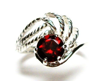 "Garnet, garnet  ring, anniversary ring, engagement, mom ladies, red ring,   s 5 3/4  ""Candy Apple Red"""