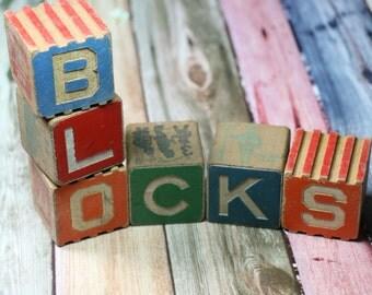 1 Antique Vintage Wooden Alphabet Block