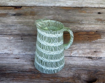 1960s Spaghetti String Avocado and White Pitcher 32 Ounce Ice Tea Lemonade Water Pitcher Retro Kitchen Decor Mid Century Housewares