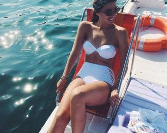 Retro high waist Swimsuit bikini swimwear resort beachwear WHITE minimal