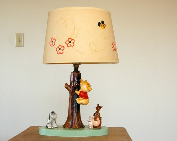 Winnie The Pooh Lamp With Original Shade 1970s Pooh Bear Lamp