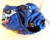 SassyCloth one size pocket diaper with police cars cotton print. Ready to ship.