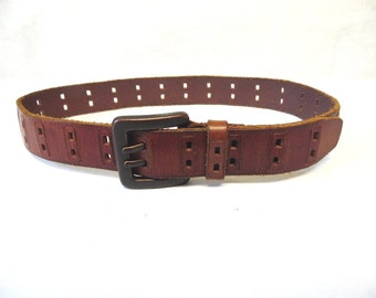 70's Distressed Brown Leather Belt Small Unisex