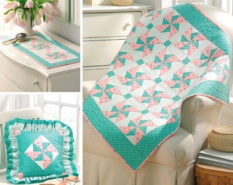 Simplicity Pattern 3703 EZ Quilter's Delight Pinwheel Quilt Patterned Throw, Table Runner and Pillow One Size NEW