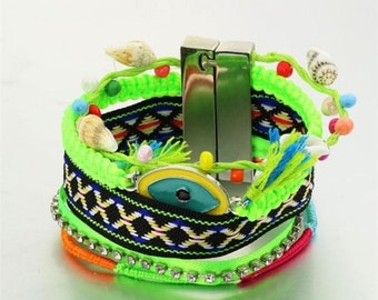 Evil's Eye bracelet wrap bracelet bohemian bracelet girlfriend bracelet magnetic clasp cuff bracelet shell beads bracelet for her