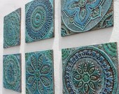 Ceramic tiles // Bathroom tiles // Decorative tiles // Handmade tile //Kitchen tiles // Wall tiles // 6 tiles set // 30x30cm // Turquoise