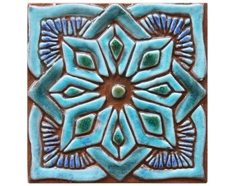 Morocco tile, hand paint tile, ceramic tile, Decorative tile, Moroccan #1, 15cm, square, Turquoise