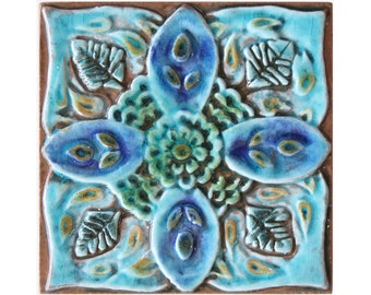 Suzani ceramic wall art, hand painted tile, Decorative tile, ceramic tile, Suzani tile, #2, 15cm, square, Turquoise