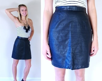 vtg 80s BLACK high waisted LEATHER Mini SKIRT Small tight rocker fitted punk motorcycle indie dress