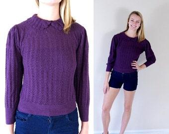 Half Off vtg 80s EGGPLANT pointelle knit DOLLY SWEATER Medium plum secretary boho retro top preppy indie hipster