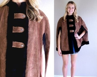 Half Off vtg 60s brown FAUX FUR suede leather Military CAPE os coat jacket mod poncho Russian princess cloak outerwear swing boho hippie