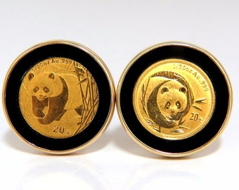 0.999 Coin Panda 1/20 Natural Jet Black Onyx rim clip earrings 14kt Chinese