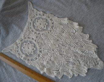 """Owl applique embroidered on Net Lace 7.5"""" x 13.5"""" large embellishment t-shirt retro altered couture cream on white net boho"""