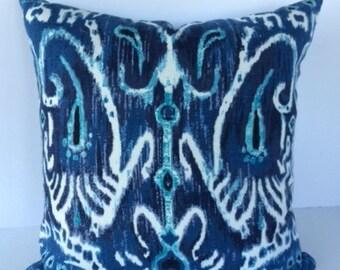 Ikat Navy Blue Cerva Decorative Pillow Cover