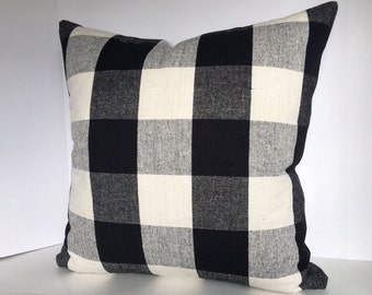 Black and White, Kohl or Linen Buffalo Plaid Decorative Pillow Cover