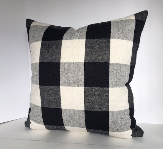Black and White Kohl or Linen Buffalo Plaid Decorative Pillow
