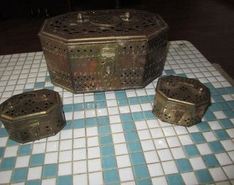 Brass Boxes Cricket Box Unmatched Set of Three Vintage Storage Containers Bohemian 70s Decor Pierced Cut Out Trinket Jewelry Stash