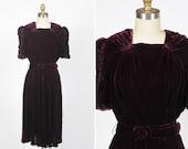 RESERVED/ 1930s dress/ 30s silk velvet dress/ medium