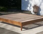 Solid Hardwood Platform Bed with turned corner posts without Headboard - natural color