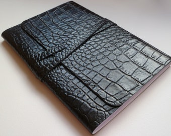 Larger Leather Journal. Travel Journal. Leather Notebook Leather Book. Jet Black Leather with an Embossed Crocodile Skin Effect.