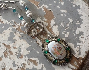 Vintage Cameo Assemblage Necklace Repurposed Porcelian Jewelry Upcycled Recycled