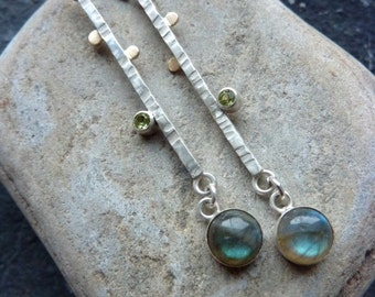 Handmade Silver and Gold Dangle Earrings with Blue Labradorite and Green Peridot.