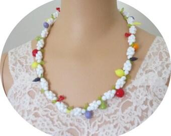Funky Fun  Vintage Plastic Fruit  Necklace #031