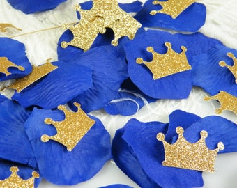 Little Prince Party Decoration - Royal Cobalt & Gold Wedding Decoration - Confetti Rose Petals and Gold Glitter Crowns - 1st Birthday Party