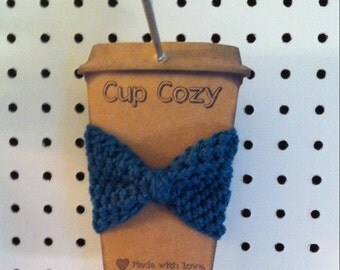 Crocheted Bow Coffee Sleeve