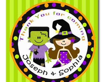 Personalized Halloween Witch Frankenstien Party Treat Tags, Favor Tags, or Labels Printable - Halloween Sibling Collection