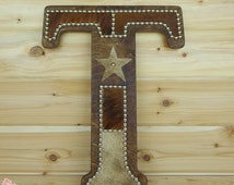 Cowhide Wall Letter T - Western Home Decor, Wall Hanging, Cowboy Nursery, Monogram