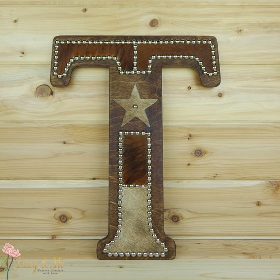 Wall Decor Letter T : Cowhide wall letter t western home decor hanging