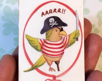 Pirate Parrot Magnet by Megumi Lemons