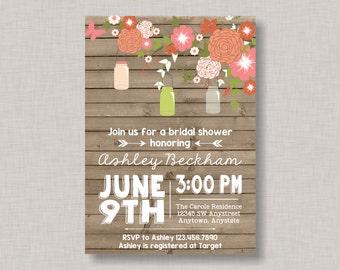 Mason Jar Invitation, Mason Jar Baby Shower Invitation, Mason Jar Bridal Shower Invitation, Mason Jar Birthday Invitation, Wood Grain
