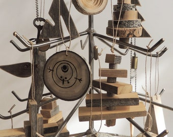 Table top Christmas Tree, MADE TO ORDER, Recycled Metal Christmas Tree, Recycled Christmas Tree,  Sculpture, Rustic Modern Christmas Tree