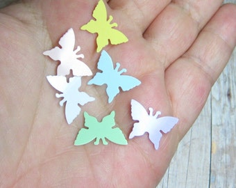 Plastic butterflies spring decoration miniature 24pcs pastel flat 17mm x 13mm butterfly decoden kawaii craft supply deco DIY fairy garden