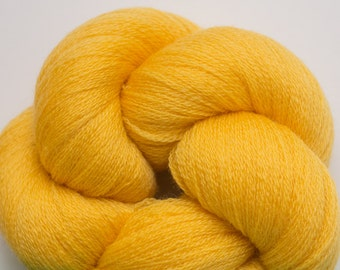 School Bus Yellow Merino Wool Reclaimed Fine Lace Weight Yarn, 3265 Yards Available