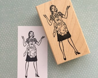 Lady With Apron Rubber Stamp 4427