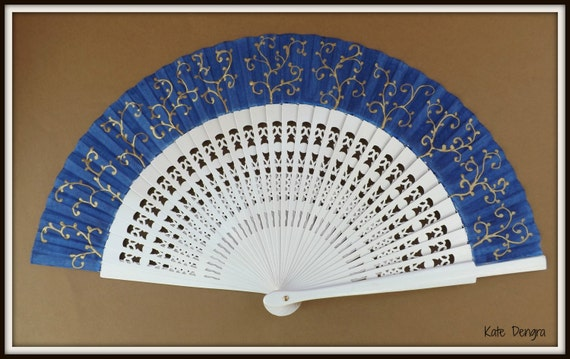 MTO Navy White and Gold Ornate Fret Wooden Folding Handheld Hand Fan by Kate Dengra Spain