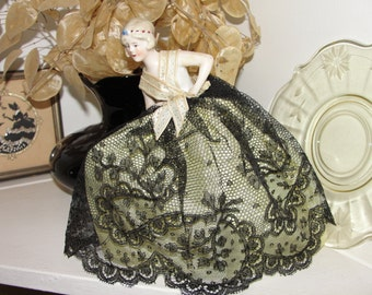 Vintage half doll lace skirt with wire frame