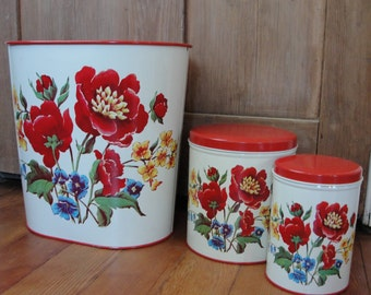 Vintage 1950s Parmeco canisters and waste basket