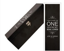 "Personalized ""The One"" Black Wine Box With Tools - Valentines Black Wine Box with Personalization - ""The One My Soul Loves"" Wine Gift Box"